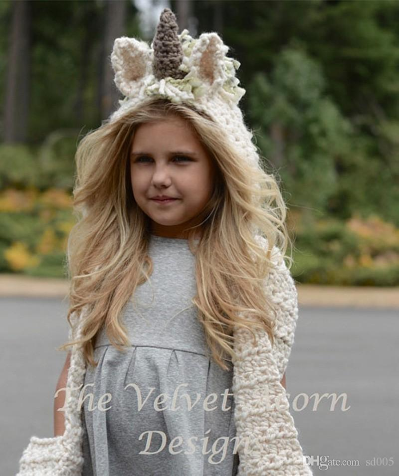 Animal Unicorn Cloak Cap Hand Made Crochet Neck Wrap Beanies Creative Acrylic Fibres Knitted Scarf Hats For Children 38za B