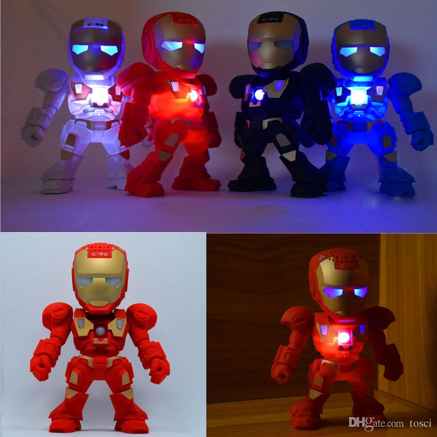 C 89 iron man bluetooth speaker with led flash light iron - Mini iron man ...