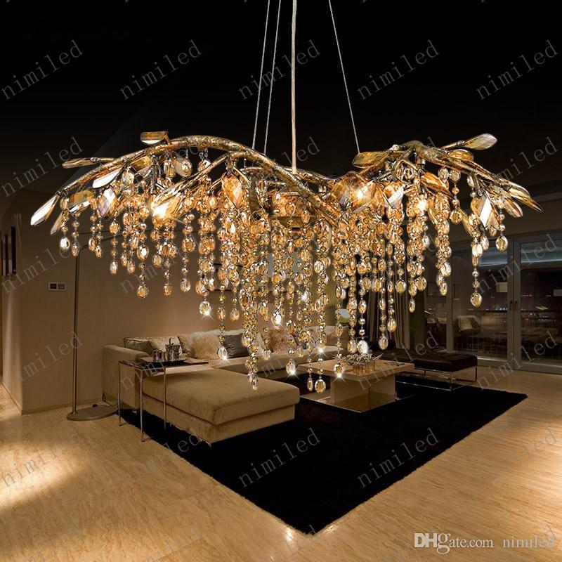 nimi736 Rétro Arts Idyllique Villa Penthouse Étage Master Bedroom Salon Lustre En Cristal Éclairage Atmosphérique Suspension Lampe Lumières