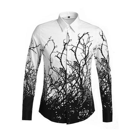 2018 New 2015 Designer Shirts Black Tree Print Luxury Casual Slim ...