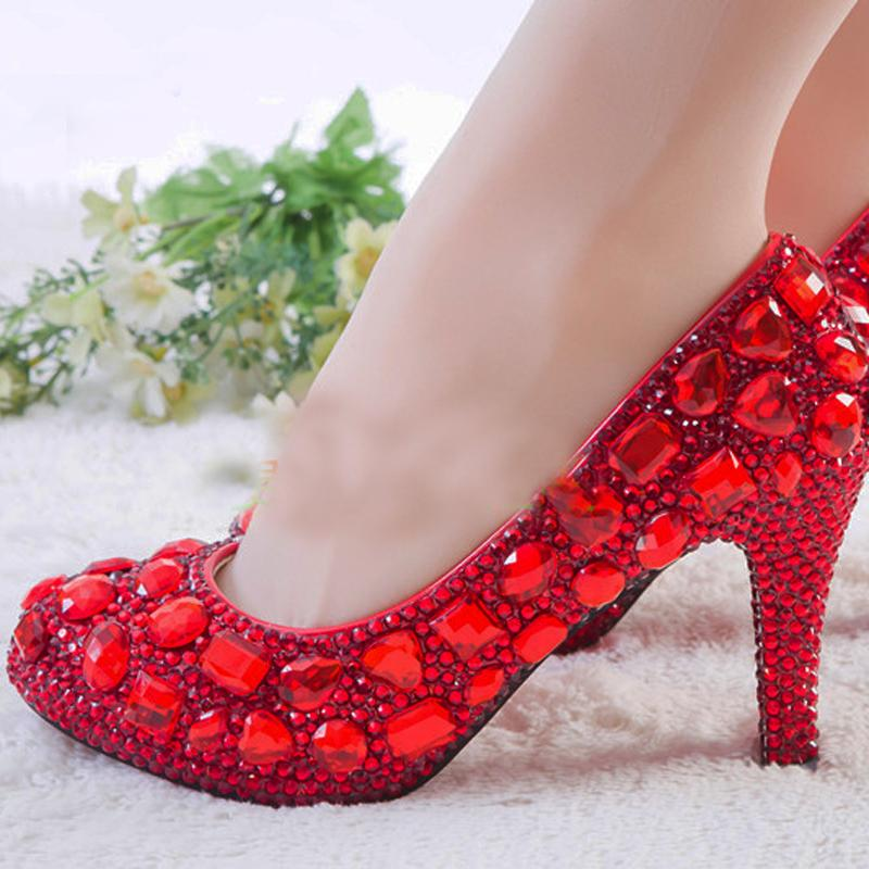 Red Rhinestone Heels Womens Crystal Pumps Wedding Platform
