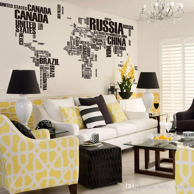 New 190cm*116cm Large World Map Wall Stickers Original Zooyoo95ab Creative  Letters Map Wall Art Bedroom Home Decorations Wall Decals Cheap Wall  Sticker ...