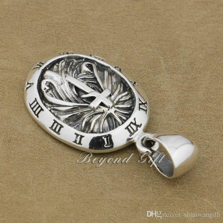 Рим часы круглый 92,5% стерлингового серебра кулон крест панк ювелирные изделия 9r007 ожерелье 24inch