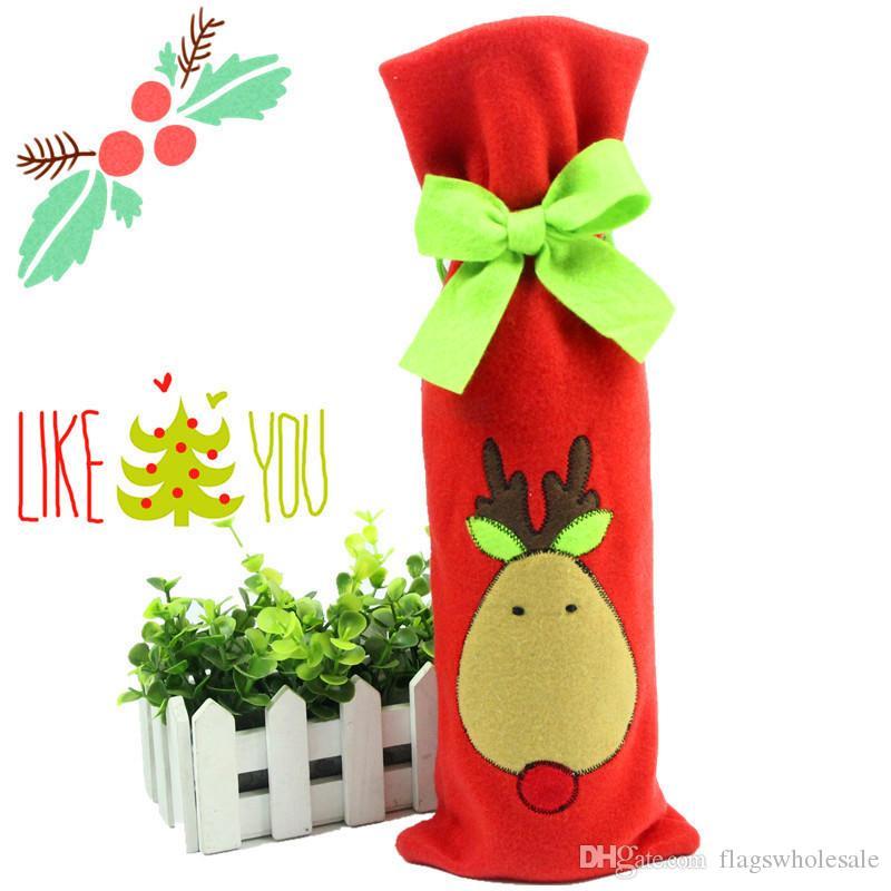 DHL Tie Vin Bouteille Couverture Sacs Pour Décorations De Noël Enfants Cadeau Merry Christmas Bar Outils Meilleur Cadeau pour Noël Bar