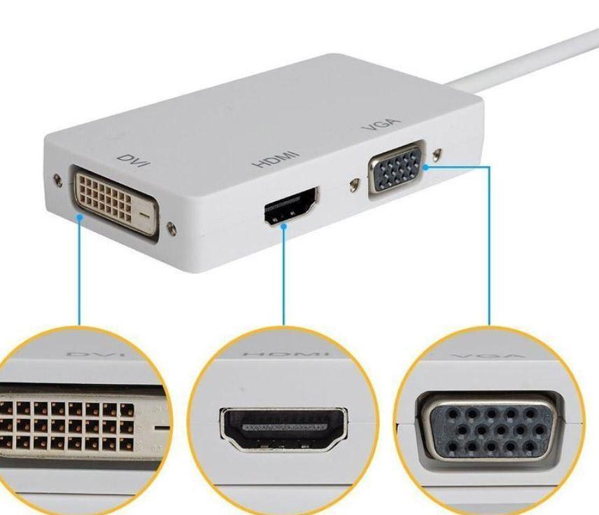 Mini DisplayPort 3 em 1 Thunderbolt para HDMI DVI VGA Cabo Adaptador de Porta de Exibição para Apple Macbook Pro Microsoft Surface Pro 2 3
