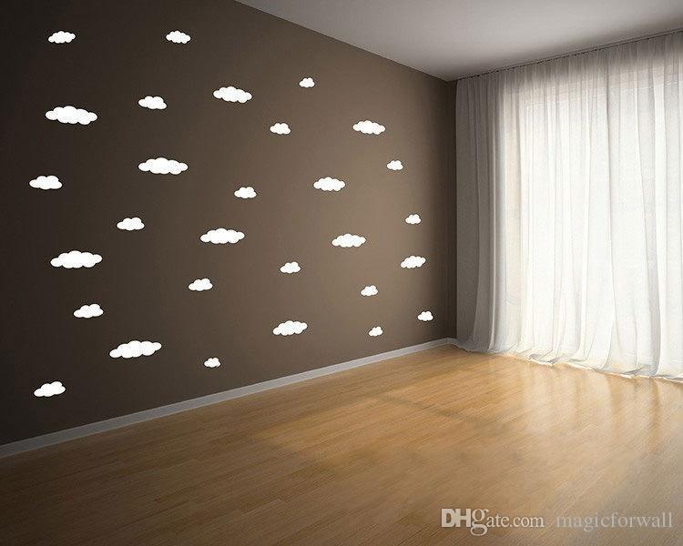 블루 화이트 핑크 플라잉 클라우드 예술 벽화 장식 스티커 거실 침실 벽 데칼 포스터 홈 아트 벽지 그래픽