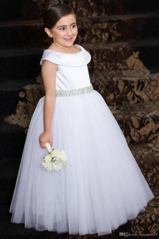 2016 Barato Bonito Flor Meninas Vestidos Para Casamentos Marfim Cinto De Cristal Branco Scoop Pescoço Tule Longo Partido Princesa Menina Crianças Pageant Vestidos
