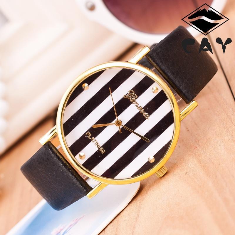 2015新しいジュネーブゴールドの垂直ストライプ女性のドレス腕時計高級レザーアナログクォーツ腕時計カジュアルレディースwholesale