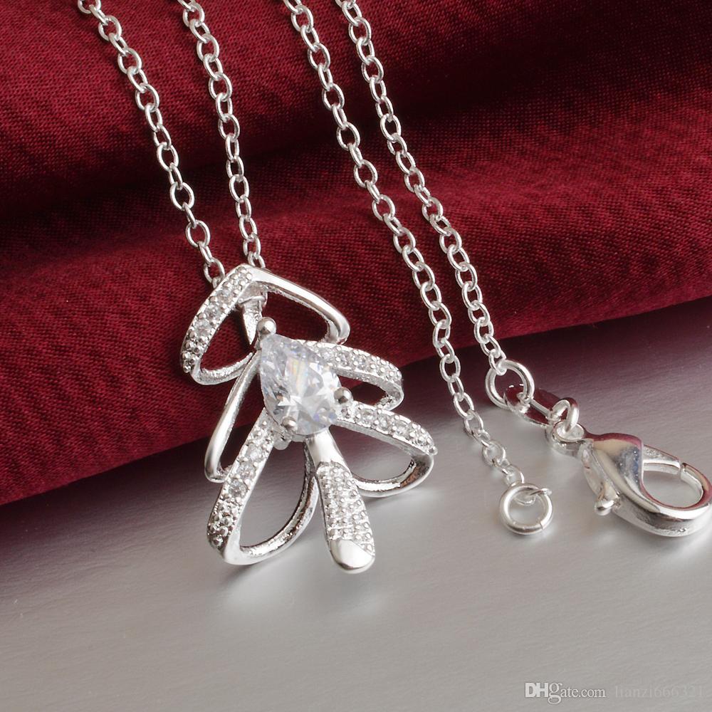 Бесплатная доставка мода высокое качество 925 серебряный Кристалл Циркон ожерелье ювелирные изделия 925 Серебряное ожерелье День Святого Валентина праздничные подарки горячие 1618
