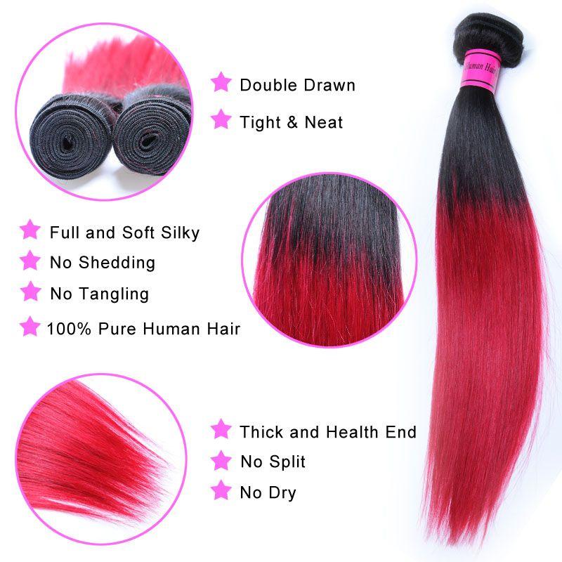 3 Adet Ön renkli 1B 99J Demetleri Brezilyalı Düz Saç Ombre İnsan Saç Paketler 99j Bordo siyah Kırmızı Ombre Brezilyalı Saç