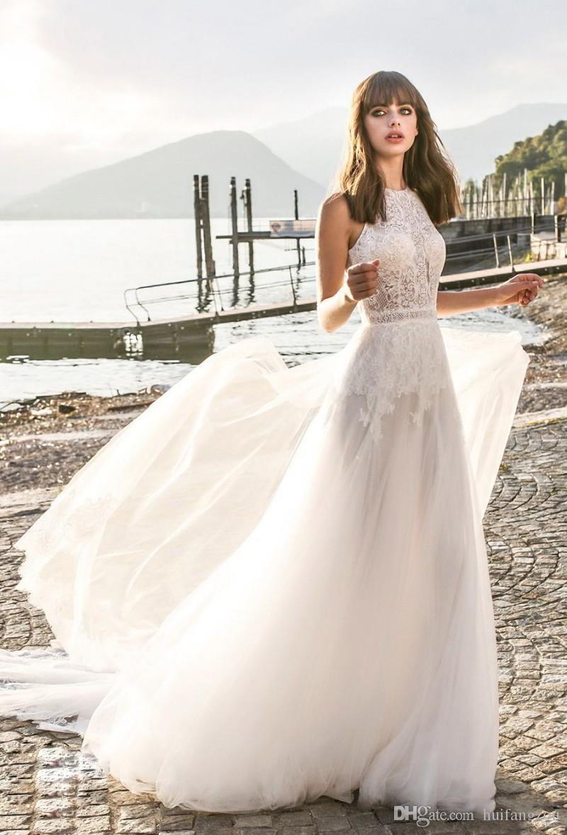 Bohemia A Line abiti da sposa sexy spiaggia gioiello collo semplice abito da sposa in pizzo applique sweep treno paese abiti da sposa abiti da sposa