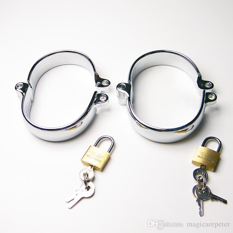 Female & male ankle cuffs/Alloy simulation toys,Bondage sex slaves,SM Sextoys with 2 lock
