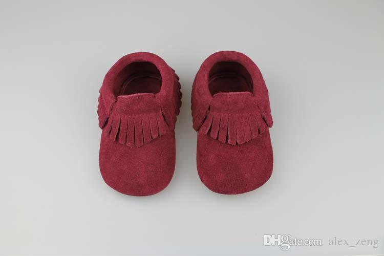 حذاء طفل الأخفاف الناعمة 2015 جديد جلد طبيعي الشرابة الأخفاف الناعمة جلد الطفل الأولى ووكر أحذية الأطفال دارى 6 ألوان