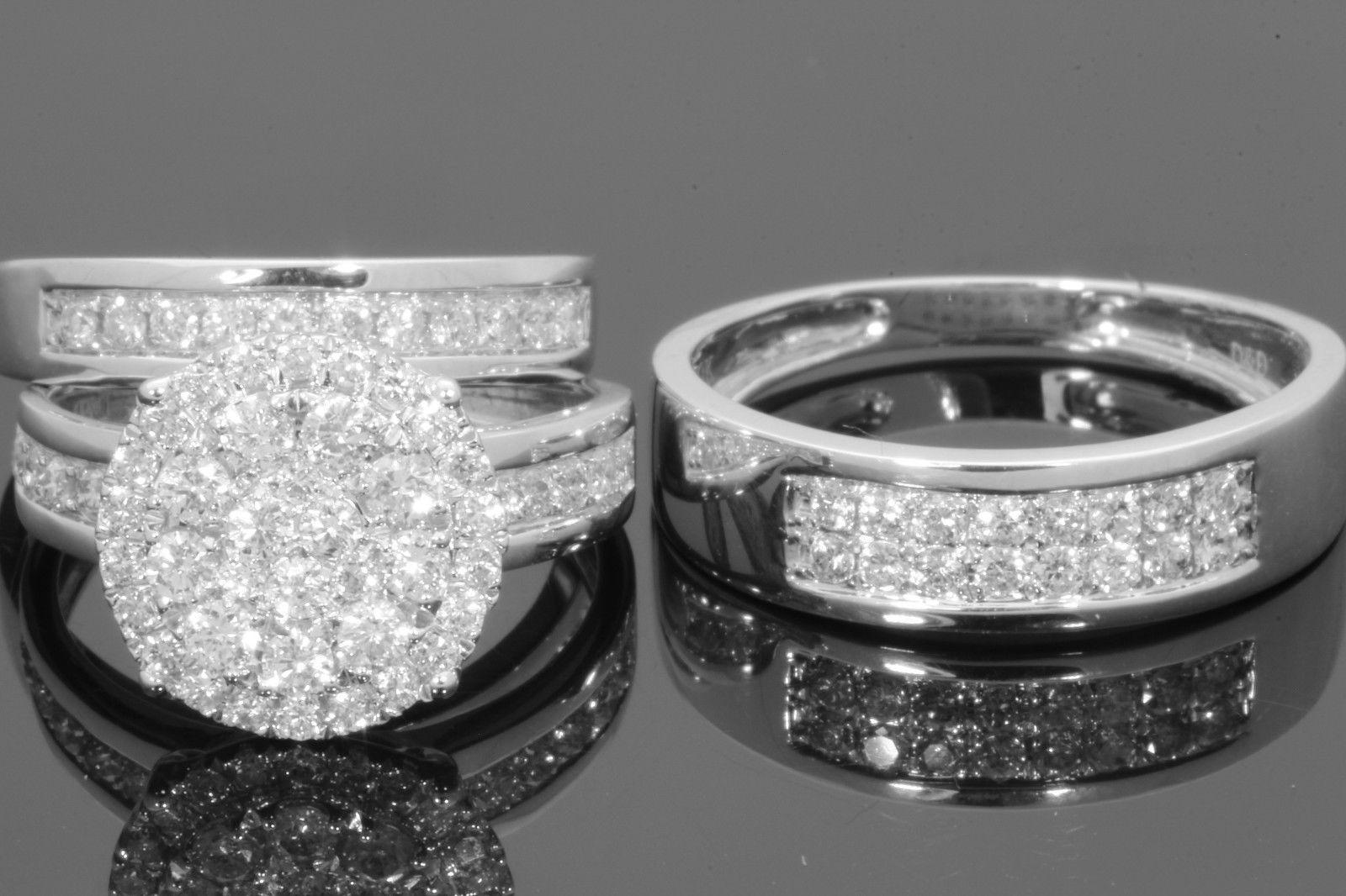 a5180f03f02d0 Best 10k White Gold 2 Men Women Diamond Trio Engagement Wedding Ring Band  Set Under  60.31