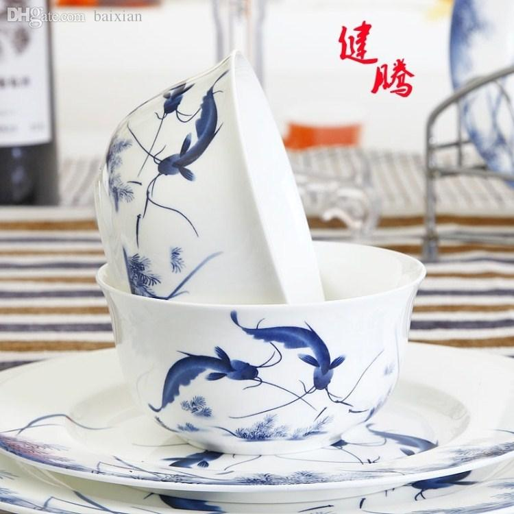 Wholesale 6 Lusterware 56 Bone China Dinnerware Set Blue And White Glaze Fish Blue And White Dinnerware Sets Blue Dinnerware Sets From Aldrichy ...  sc 1 st  DHgate.com & Wholesale 6 Lusterware 56 Bone China Dinnerware Set Blue And White ...