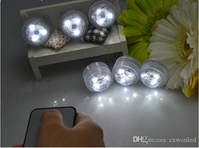 ip68 waterproof 3 leds white and RGB night light fish tank light with remote on and off battery underwater led candle light