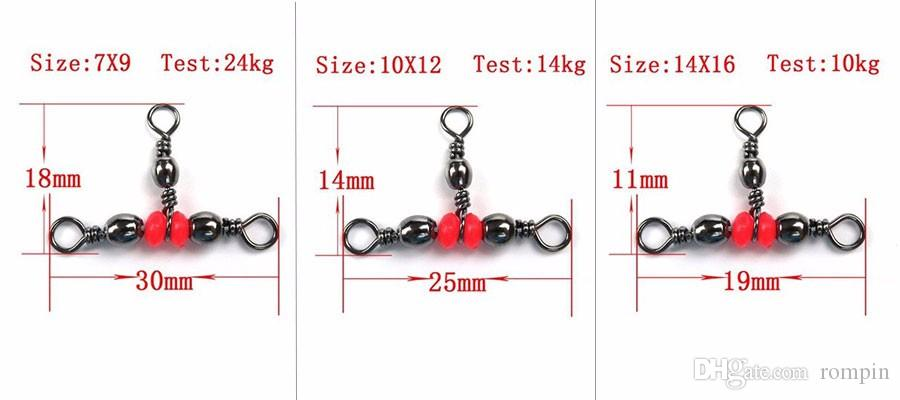 Rompin 3 Way Fishing Rolling Brass Barrel Triple Swivels Bearing Connector Solid Ring Fishing Fishing Tackle Accessory