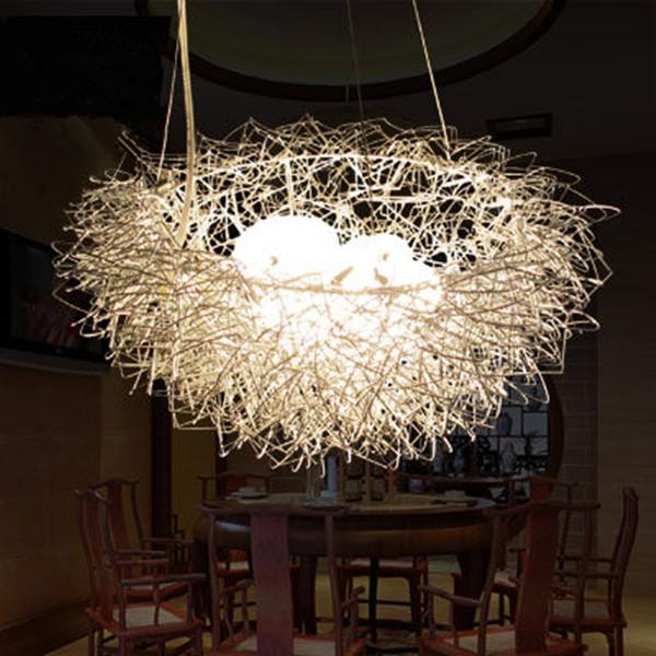 Modern Bird Nest Pendant Light Art Aluminum Lights For