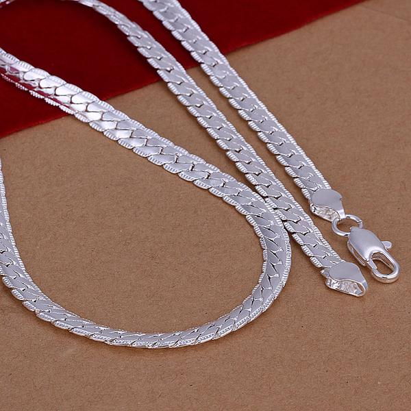 Men's 5mm 18 inches 925 sterling silver chains necklaces n130 Christmas gift