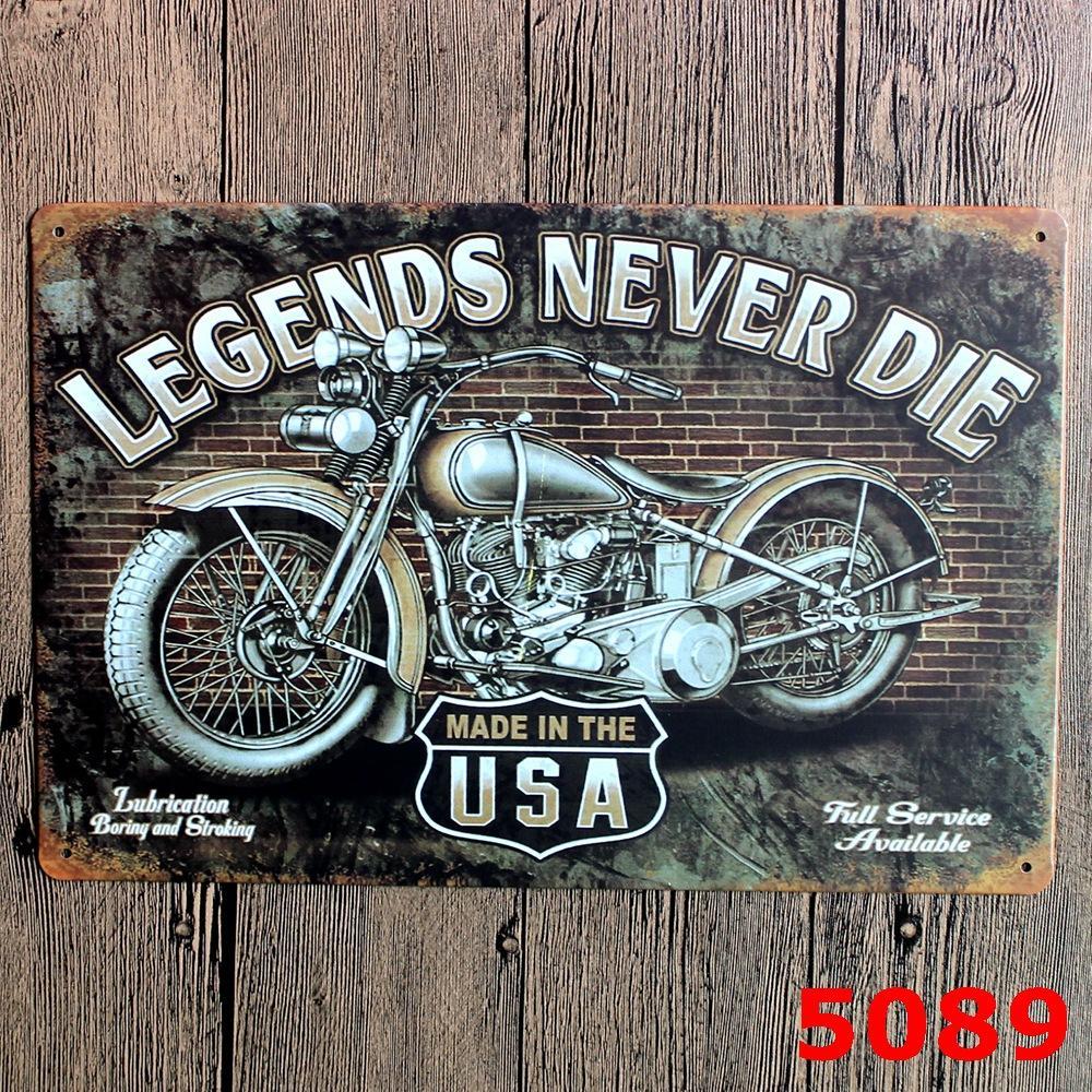 Legends never die motorcycle metal signs tin art wall sticker home bar pub tavern garage plaque 2030cm wall stickers removable wall stickers sale from
