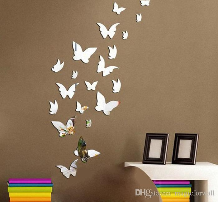 High Quality Set 3d Butterfly Mirror Effect Wall Decal Sticker Diy Home Decoration Wall  Art Decor Sticker Poster Acylic Art Wall Mirror Silver Gag Birthday Gifts  For Men ... Part 10