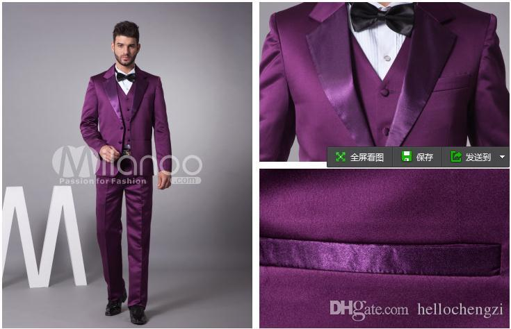 2015 Custom Made Purple 2 Buttons Formal Occasion Wedding Groomsman ...