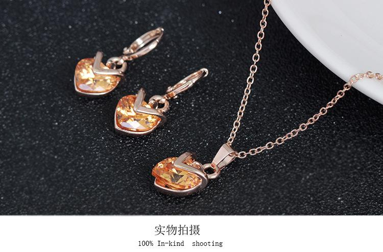 Fashion Heart Opal Statement jewelry sets 18K gold Cubic Zirconia Austrian Crystal Pendant Necklace Earring Set Wedding Jewelry Sets