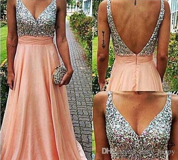 2015 sıcak seksi Derin V Yüksek Belli Elbiseler Geri Kaçak Zarif Şifon Akşam Gelinlik modelleri kokteyl parti elbise