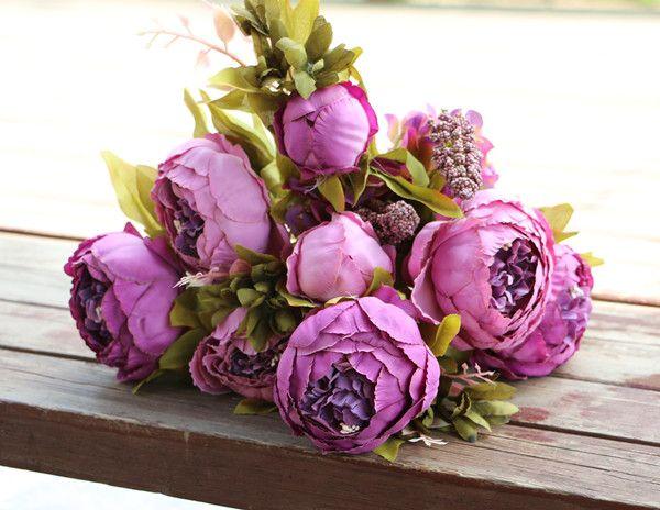 Artificiale Peony mazzo della seta Peony fiori di simulazione olio europea Pittura Peony Fiore Ortensia fiore di colore 15 centrotavola matrimonio