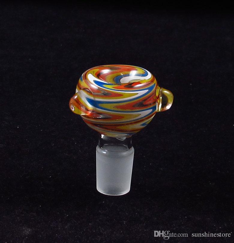 Colores mezclados Tabaco pipa de vidrio pipa de agua del caño del filtro cachimba Slide Bong tubería de agua EE.UU. color 14mm19mm