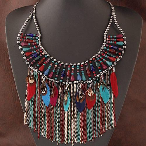 0eda85869d22 Bisutería Collar de la declaración de la marca grande borla collares de  plumas colgantes hechos a mano cuentas Maxi collar de las mujeres