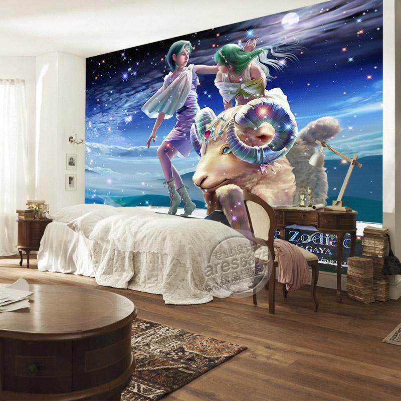 Romantic galaxy wallpaper aries photo wallpaper custom 3d for Galaxy wallpaper for rooms