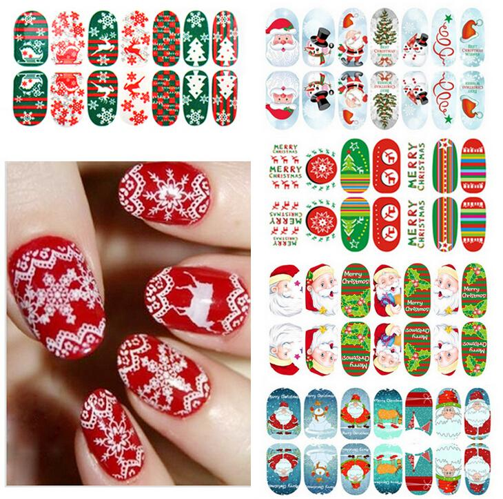 Xmas Nail Art Stickers Full Cover Nail Tips Sticker For Fashion ...