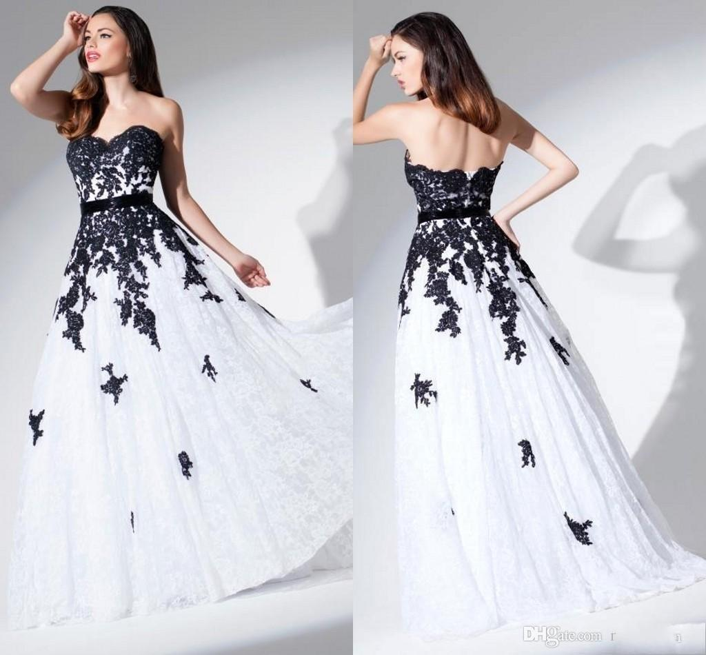 Black And White Wedding Gowns: Discount Black Lace Wedding Dress Black And White Wedding