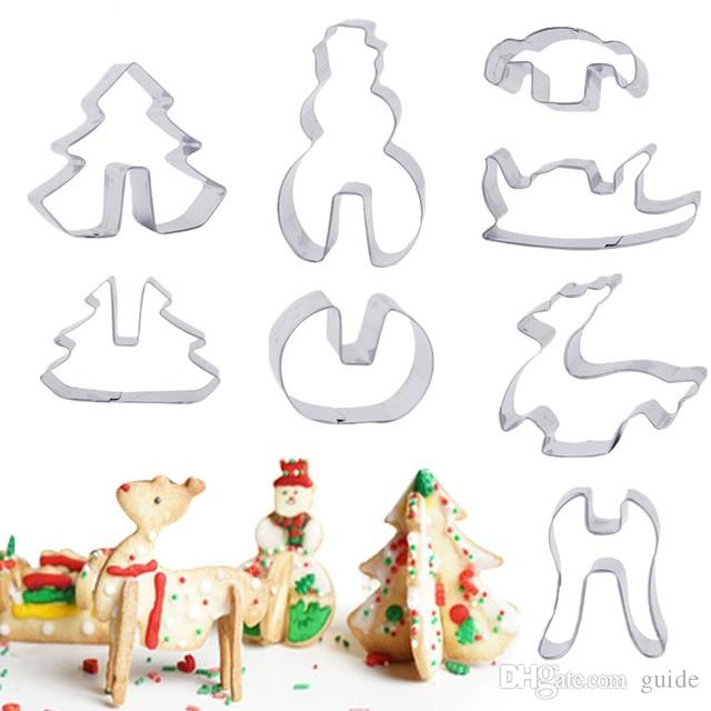 3d christmas tree cookie cutter stainless steel biscuit cookie mold cake decortion 8pcsset baking tools 100lots