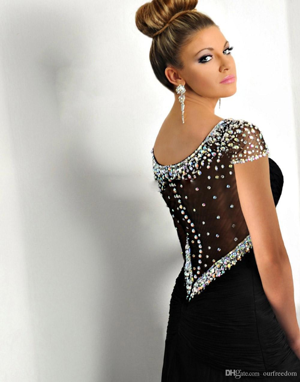 Formal Evening Dresses 2019 With Mermaid Scoop Crystal Side Slit Prom Party Gowns See Though Backless