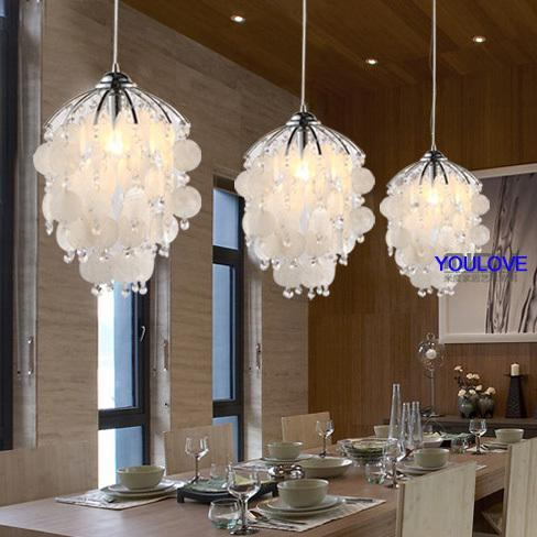 2018 newly pastoral natural sea shell pendant lamp restaurant dining