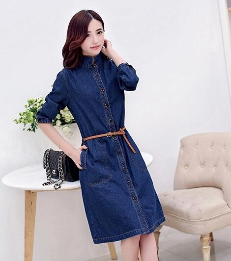 2018 2015 Fashion Denim Long Coat For Women Plus Size Ladies Jeans ...