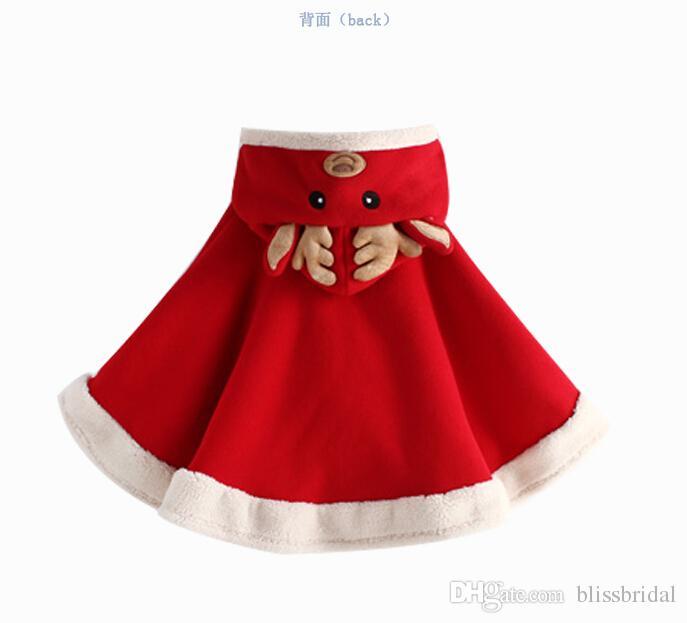 Noël Cape de Noël Joyeux Noël Rouge Noël Santa Claus Faux Fourrure Enfants Vestes et Capes Hiver Fille Chaud Châle