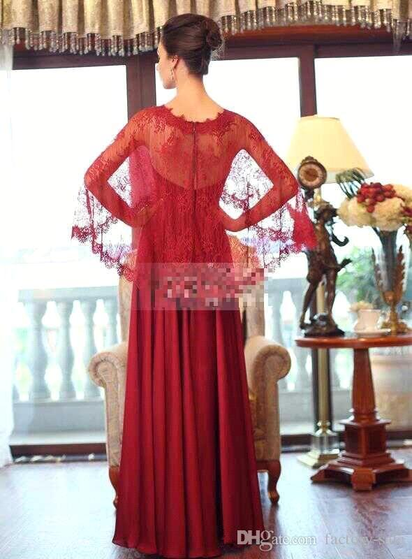 African Traditional Mother Dresses Red Sheer Neck Long Sleeves Sweep Train Lace Prom Dresses Arabic Dresses For Women BO8868