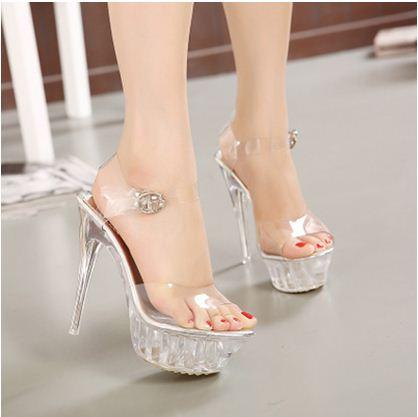 0ad9bbb91e7cd4 2019 Crystal with High Heeled Platform Sandals Fashion Women s ...