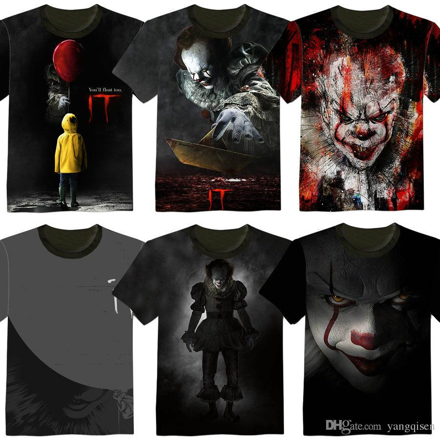 Filme IT Pennywise Palhaço Stephen King 1990 Filme de Terror T-Shirt COSPLAY Tee