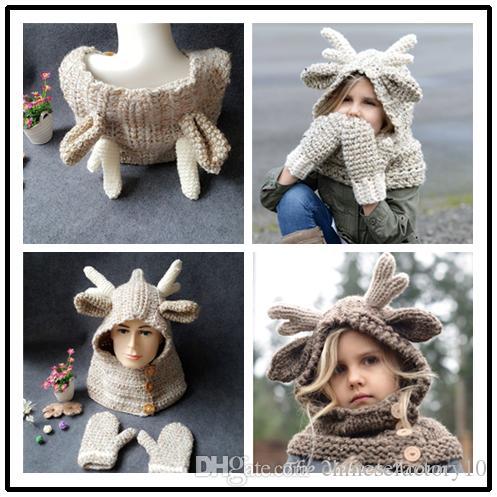 3e8c05496ea Baby Winter Christmas Elk Hat Scarf+Gloves Kids Cartoon Deer Knitted ...