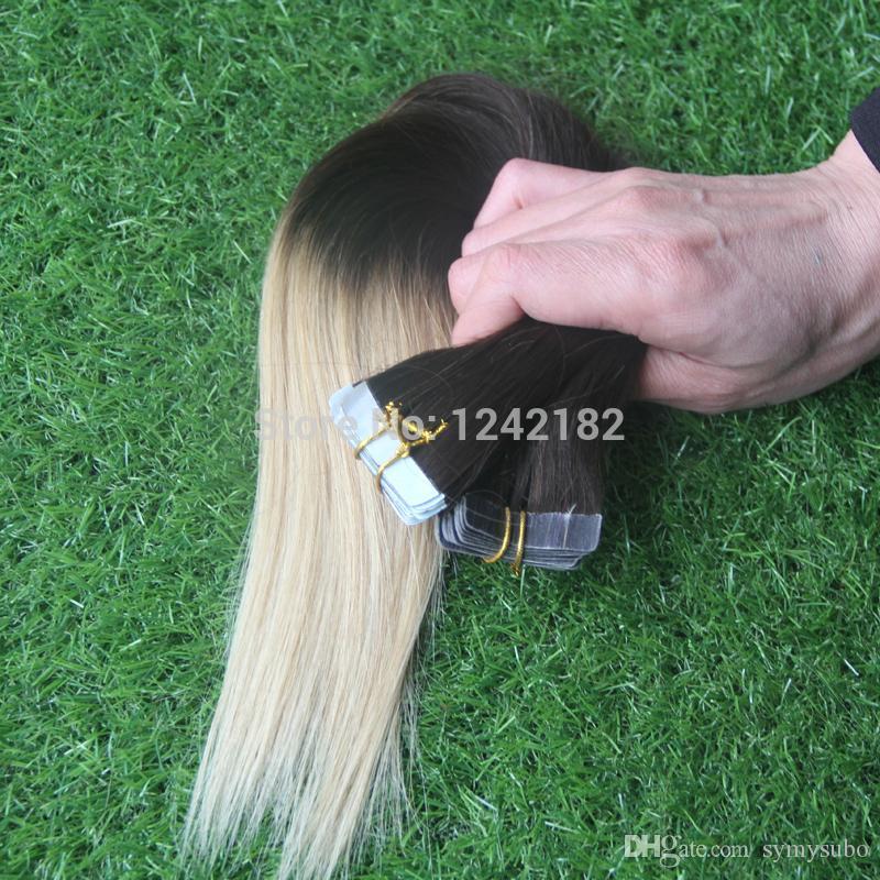 Дешевые T4 / 613 Два Тона Ombre Ленты В Наращивание Волос Бразильский Реми Прямые Человеческие Волосы Лучший Pu Кожи Уток Наращивание Волос