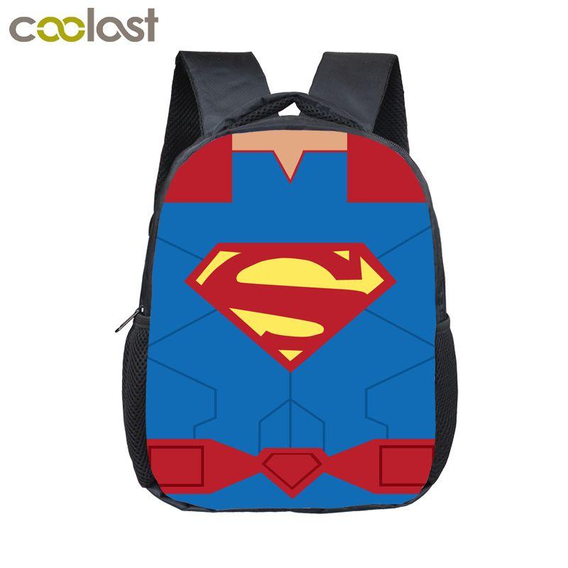 dada2745b525 12 Inch Comics Superhero Logo Backpack For Children Cartoon School Bags  Superman Spiderman Kids Kindergarten Nylon Backpack Boys Bag Backpack Sale  Best ...