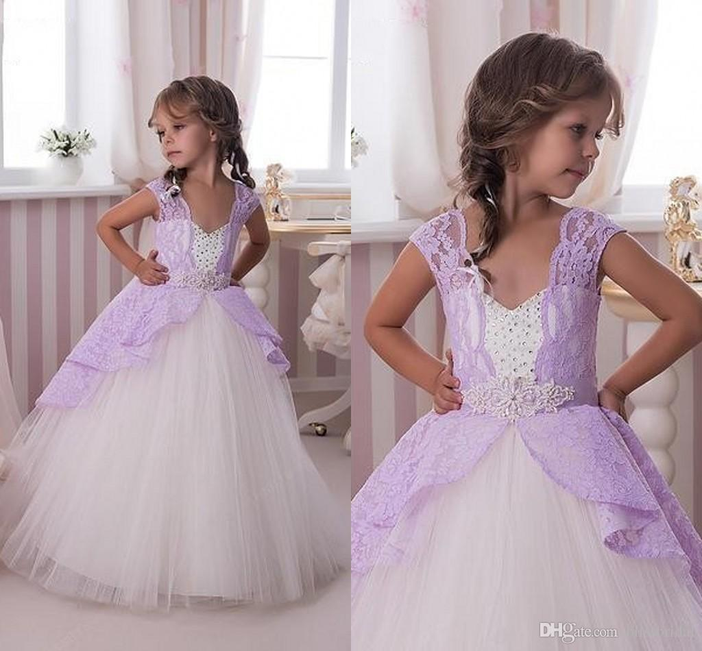 White Tulle Flower Girl Dresses With Purple Lace Capped Sleeves
