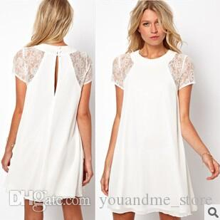 38bc8669481 Fashion Summer Dresses Plus Size Womens Lace Chiffon Mini Dress Skirt Sexy  Vestidos Short Sleeve White Party Casual Dress Clothes B30 Cute Cocktail  Dresses ...