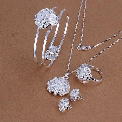 52g fashion design Rose shape 925 silver necklace bracelet earring ring set fit women,High quality 925 silver plated jewelry set,DS-334