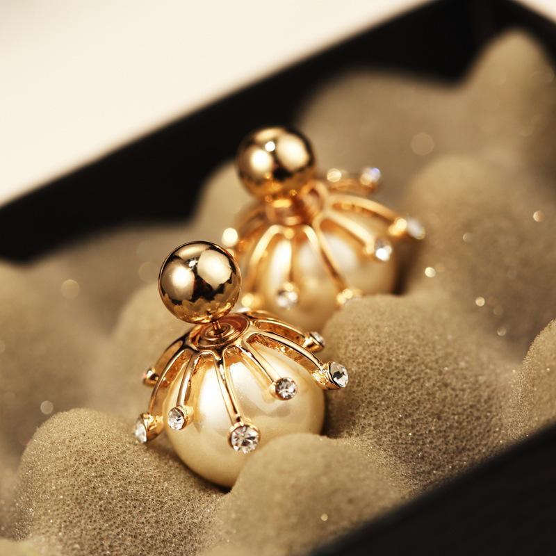 Popular Gold Double Pearl Earrings for Women Sided Platinum Stud Earrings  OF74