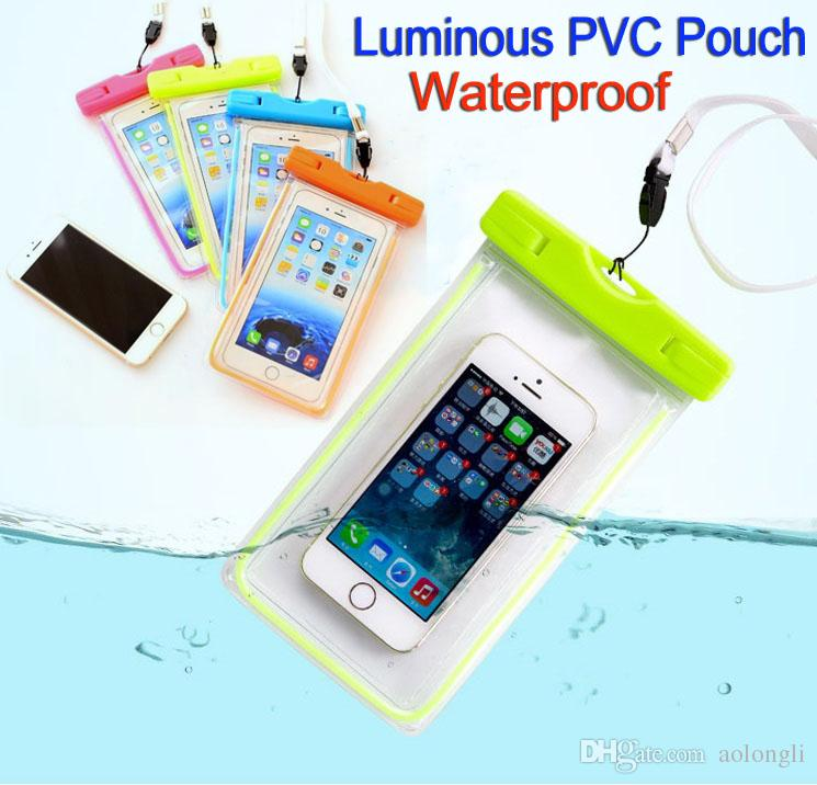 los angeles 90f05 d58fa Universal Clear Waterproof Pouch Case Luminous Water Proof Bag Underwater  Cover suitable for all mobile phone 5.8 inches Iphone Samsung